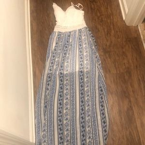 Rue 21 blue floral white lace maxi dress